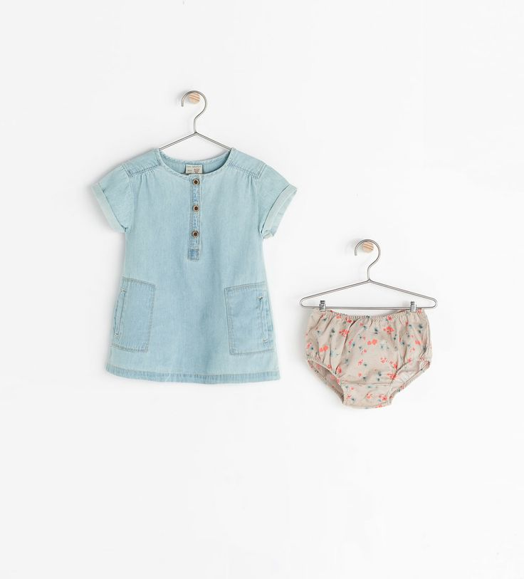 Zara children clothes.....oh my she needs it all! :) DENIM DRESS WITH PANTIES from Zara