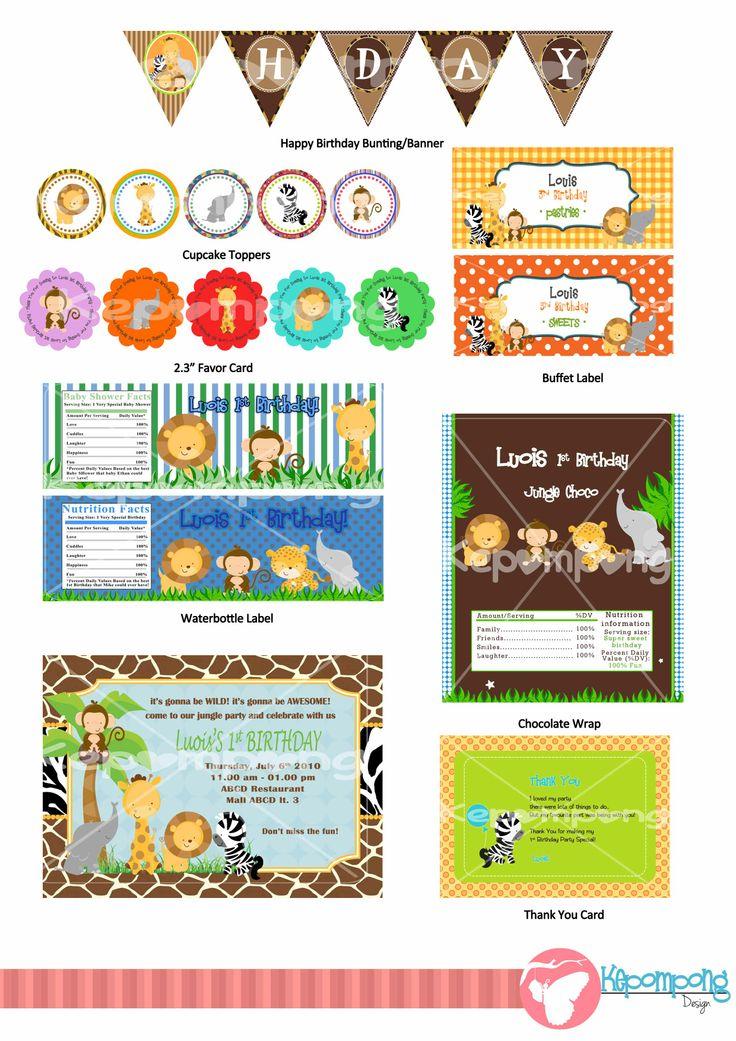 Jungle Birthday Theme Pack  Paket Ulang Tahun Bertemakan Jungle Animal   Paket ini termasuk - Kartu Undangan - Favor Card - Thank You Card - Cupcake Topper - Bungkus Coklat - Label Botol Air  - Banner/Bunting Happy Birhtday  - Label Makanan  Silahkan pm for more info atau email ke kepompongshope@gmail.com WA ke 08787 515 0001