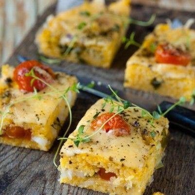 Polenta tomato bake. Great for a crowd and easy peasy ...