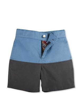 63% OFF Hang Ten Gold Boy's Far-Out Two-Tone Short, Blue/Grey, 8