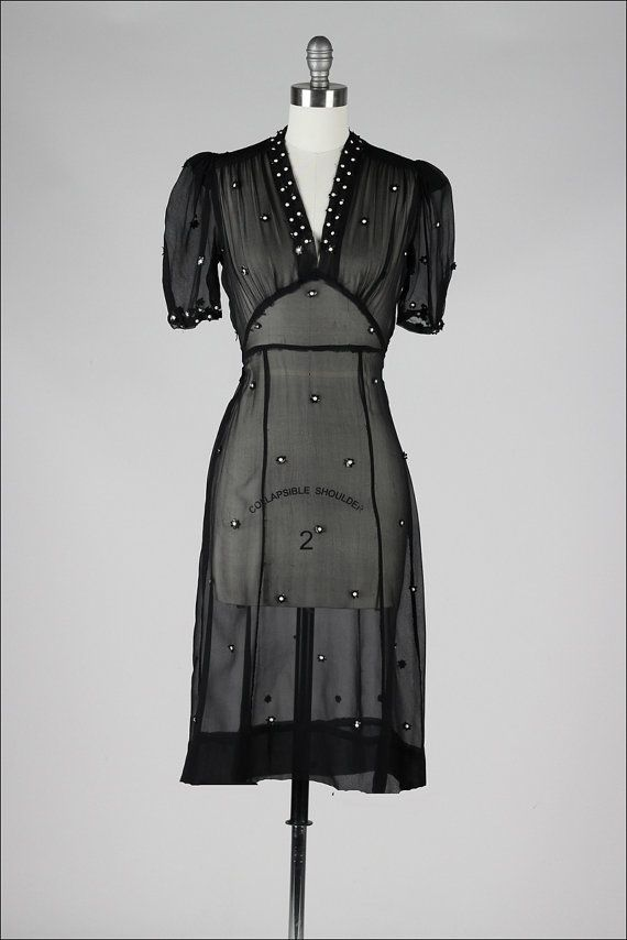 vintage 1940s dress . sheer black silk . by millstreetvintage