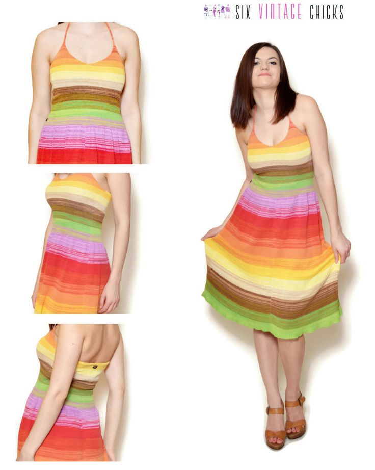 Cocktail Dress, Retro Style, Garden Party Dress, Vintage Womans Clothing, Rainbow  dress, Circled dress, Size S/ 36, M/ 38, by SixVintageChicks on Etsy