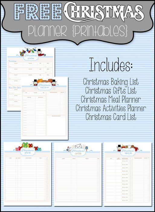 Get organized for the holidays with these Christmas Planner Printables including a baking list, a Christmas gifts list, a meal planner, an activity planner, and a Christmas card list.