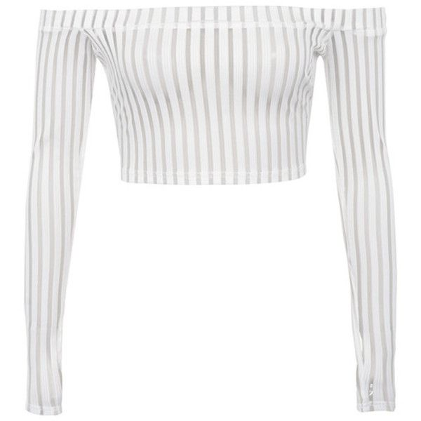 'Devoted' White Striped Mesh Off Shoulder Top - Mistress Rocks (£32) ❤ liked on Polyvore featuring tops, cropped tops, off shoulder tops, off the shoulder long sleeve top, white top and striped off the shoulder top