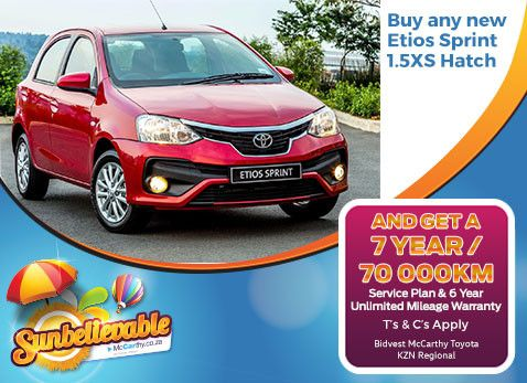 BUY ANY NEW ETIOS SPRINT 1.5 XS HATCH | Get as 7 Year/70 000km Service Plan & 6 Year Warranty. - Available from all Bidvest McCarthy Toyota dealerships in the KwaZulu-Natal Province. Delivery across South Africa.