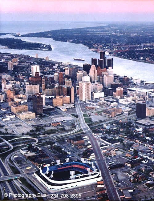 Aerial photo of Detroit with the old Tiger Stadium in the foreground.
