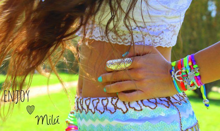 Fluorine Summer Collection    www.milubracelets.com  #bracelets #colorful #fluorine #silver  #pulseras #coloridas #fluor #milubracelets