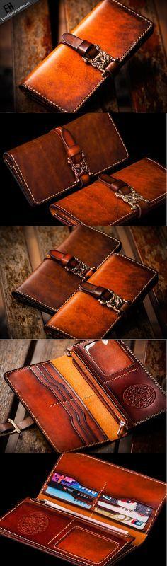 Handmade leather long clutch biker trucker chain wallet coffee brown leather…