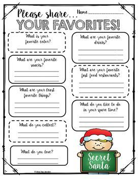 "Who doesn't LOVE having a Secret Santa!!?! My colleagues and I love participating in Secret Santa each year during December! It's so much fun to find little surprises in your mailbox each day that last week before Winter Break. You can decide the guidelines for how Secret Santa will work at your school, but here is a ""favorites"" questionnaire to get you started!!"