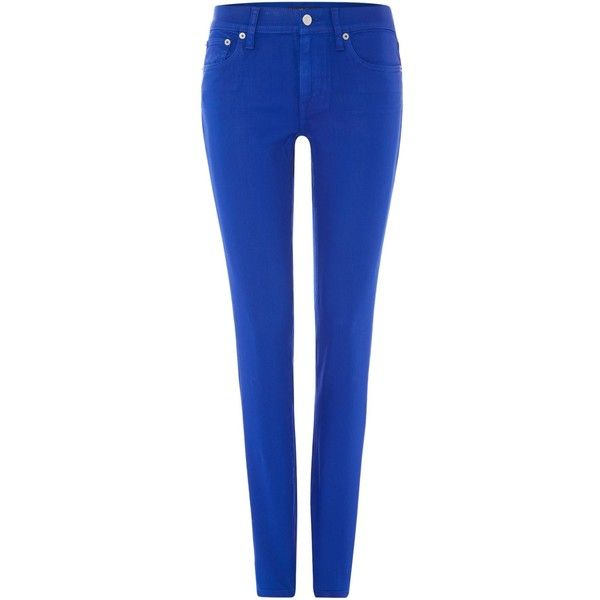 Polo Ralph Lauren Skinny leg coloured jean (£68) ❤ liked on Polyvore featuring jeans, pants, bottoms, pantalones, blue, clearance, polo ralph lauren, skinny jeans, blue jeans and polo ralph lauren jeans