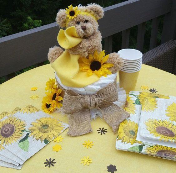 Burlap Sunflower Centerpieces | Sunflower Baby Shower, Rustic Baby Shower - Diaper Cake Balloon ...
