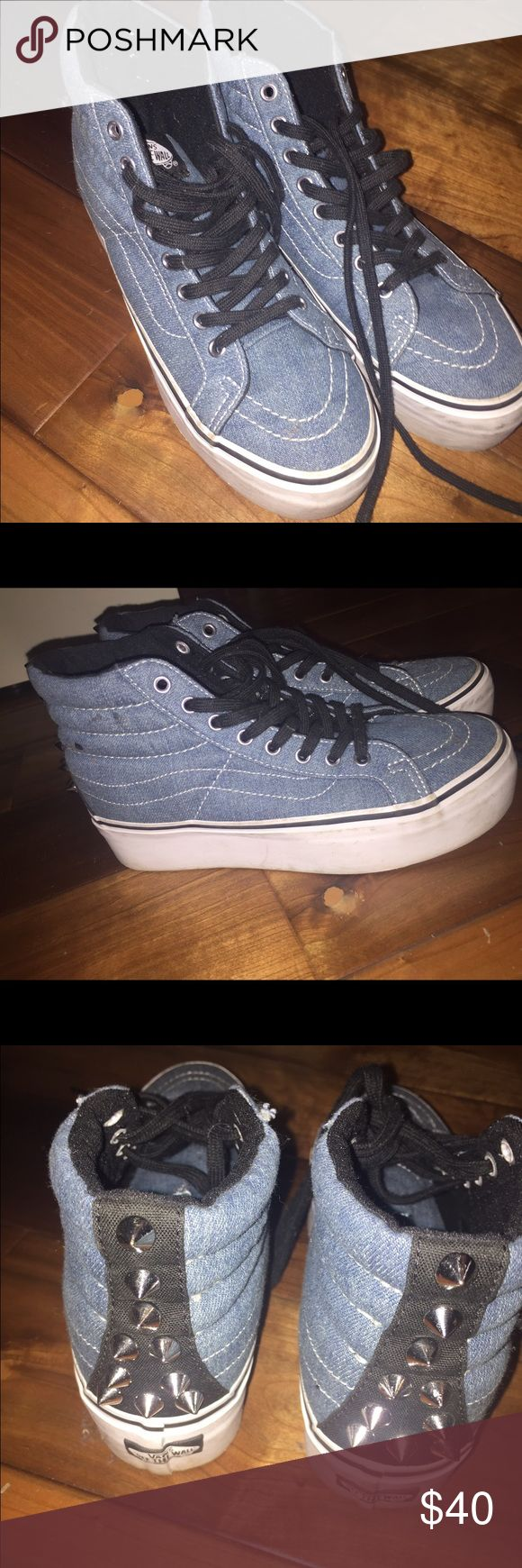 platform denim studded vans high tops love these to add a little height and the denim and black combo makes them a great item to match any outfit size 6 women! super cute studs! almost new--worn once Vans Shoes Sneakers