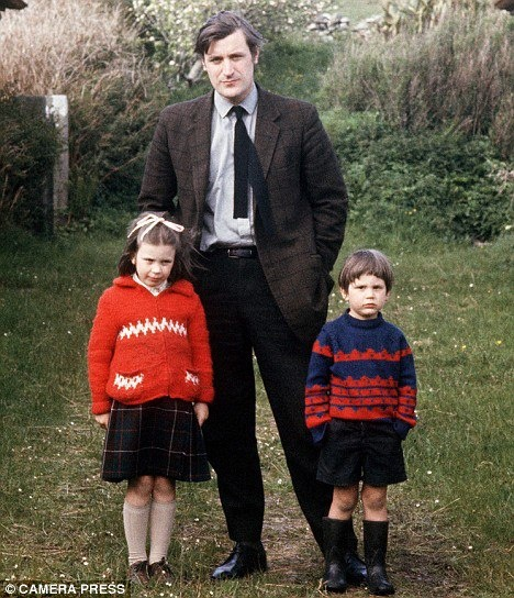 Ted Hughes with Frieda and Nicholas (4 years after Sylvia's suicide)