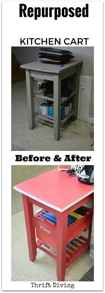 Repurpose an old kitchen cart into a command center for getting organized this…