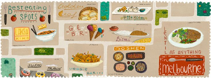 Best Eating Spots in Melbourne illustration by Laura Wood for They Draw & Travel
