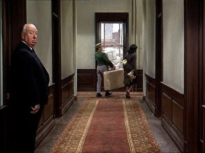 Still from Marnie; Hitchcock's cameo appearance