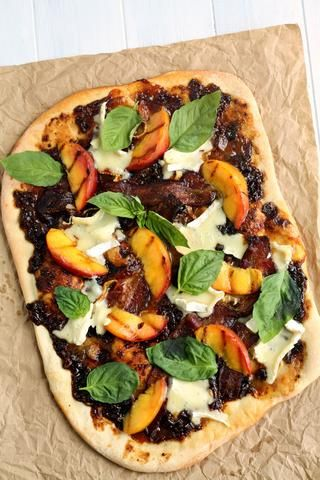 Grilled Peach and Balsamic Fig Pizza with Bacon, Basil and Brie by Wozz!