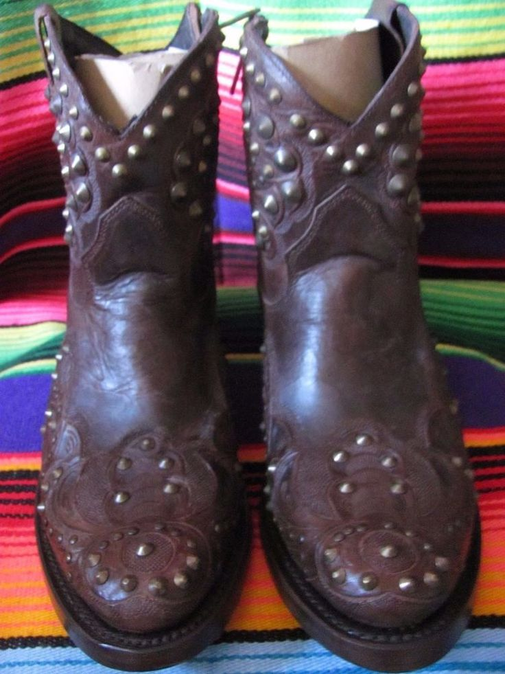 Ash Italia Western Style Booties Brand New Pewter  Toned Studs Zippered Up The S #AshItalia #CowboyWestern #Any