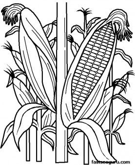 Printable vegetables Corn coloring page - Printable Coloring Pages For Kids