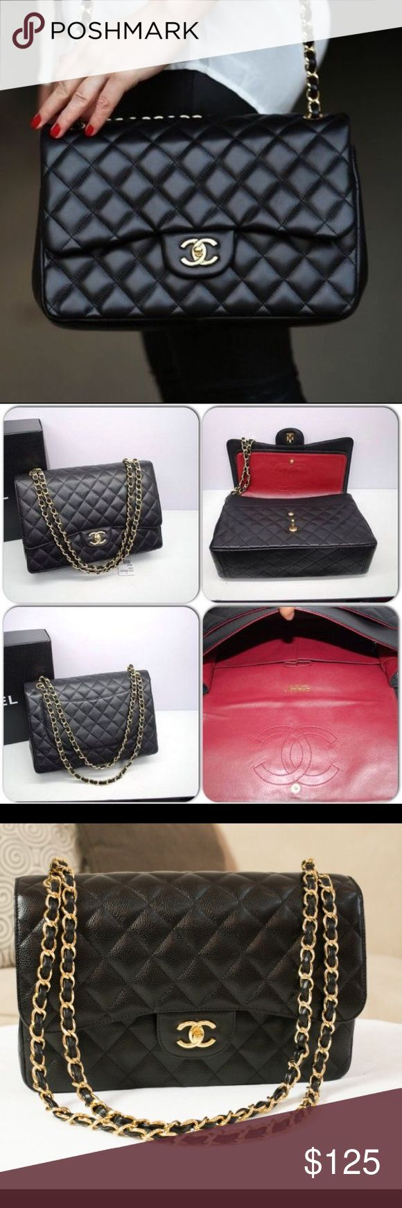Chanel Double Flap Classic Jumbo black quilted Chanel purse. Absolutely amazing classic purse! Price reflects authenticity. Super soft faux leather. A fashion lover's must-have! Phenomenal quality :) I LOVE this purse, just don't need it anymore. Will update shortly with exact measurements. Ships from Louisiana. CHANEL Bags Shoulder Bags