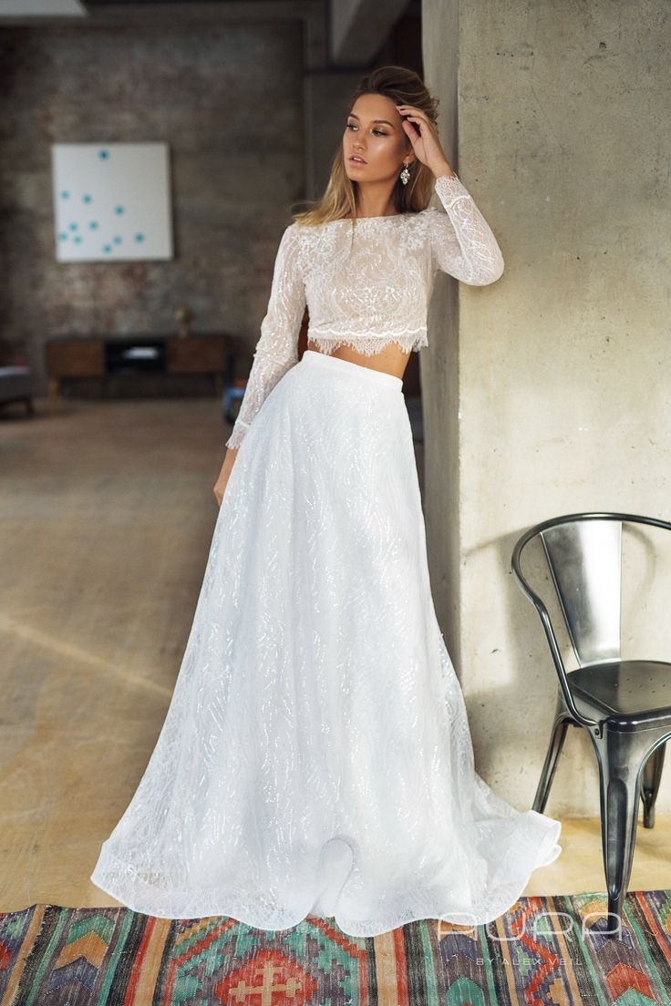 Wedding dress 'INESSA' with lace skirt crop top Etsy in