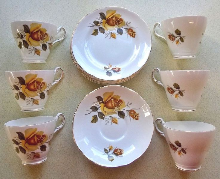 Yellow Rose Regency Bone China Tea Service 6 Cups, 6 Saucers & 6 Plates