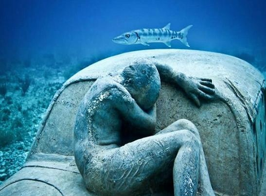 Grenada's underwater human sculpted figures