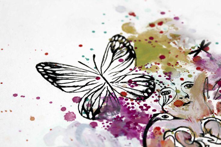 papillon, stylo et aqurelle