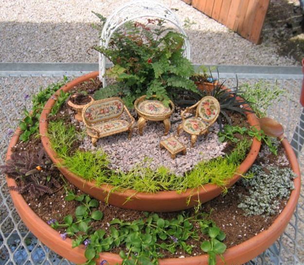 33 Miniature Garden Designs, Fairy Gardens Defining New Trends in Container Gardening-a mini garden setting in a pot