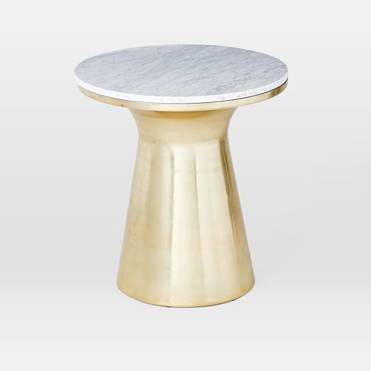 Perfect Marble Topped Pedestal Side Table   White Marble/Antique Brass