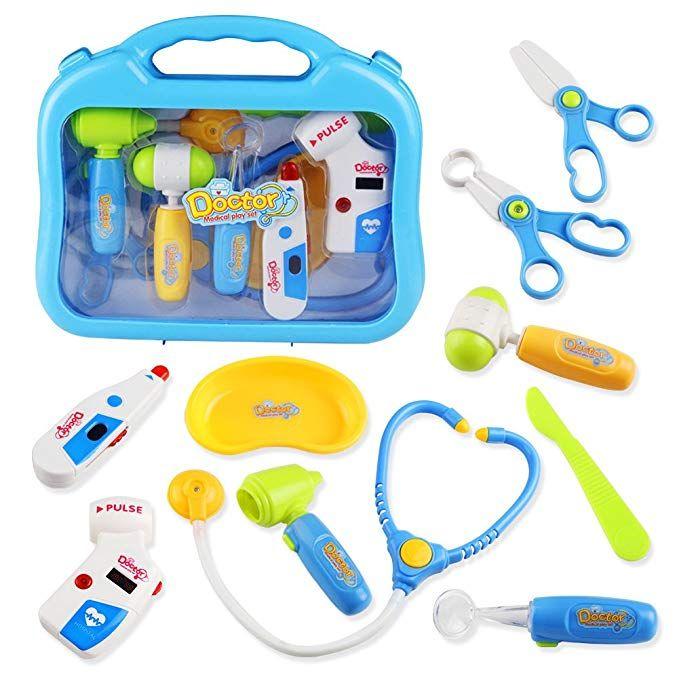 Pretend Doctor Nurse   Carry Case Kit Developmental Game Toy Gift Blue