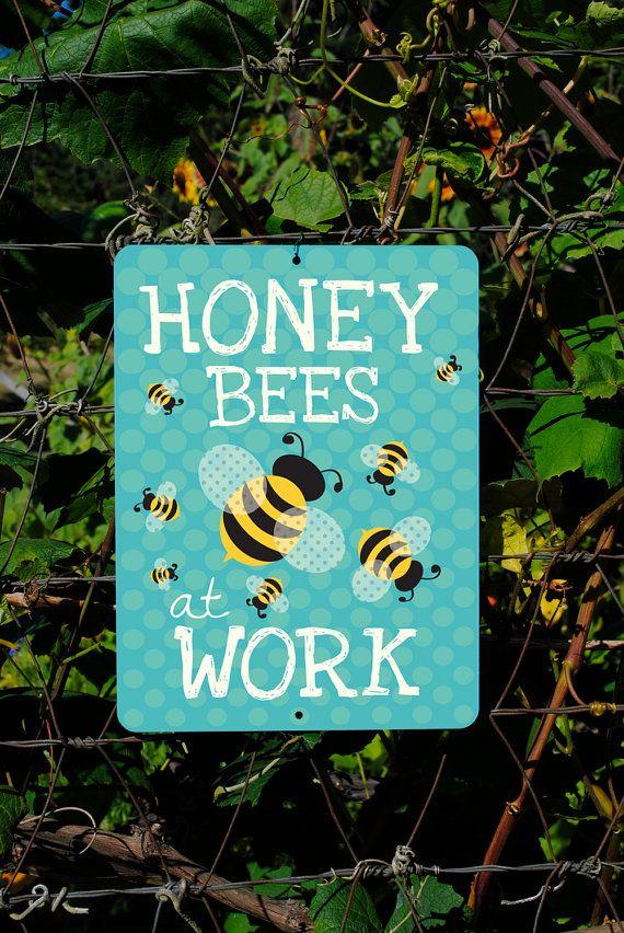 Honig Bienen bei der Arbeit Seafoam 9 X 12 von BainbridgeFarmGoods