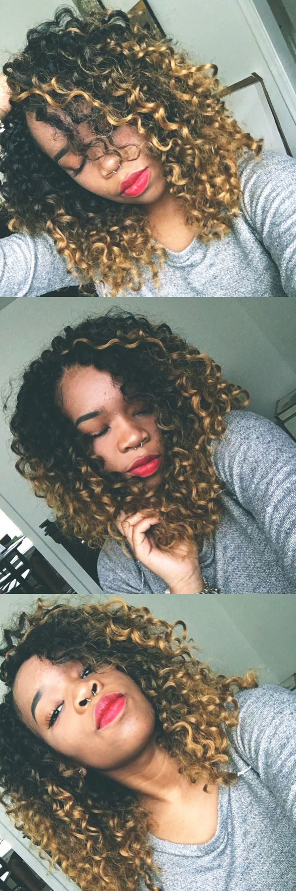 Blonde Ombre Curly Crochet Braids. I used Freetress Barbadian Braid
