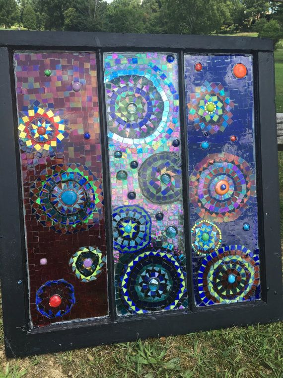 handcut mosaic glass on vintage windows great by GlassyGiftsByLisa
