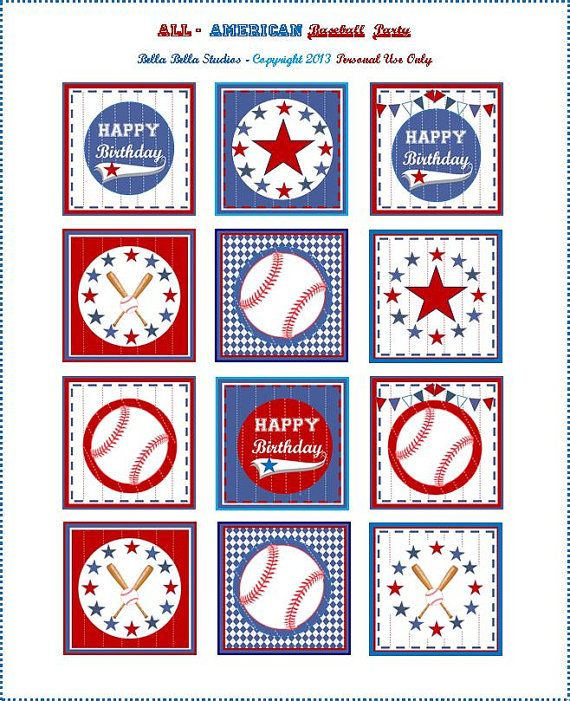 BASEBALL CUPCAKE TOPPERS - Personalized Printable Download ...