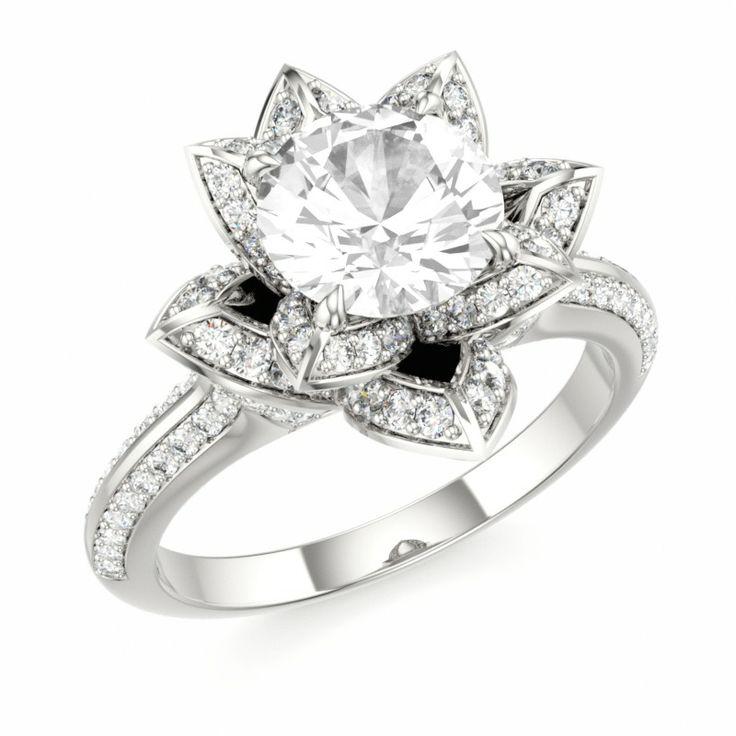LOTUS BLOSSOM ROYAL | Designer Engagement Ring with White Topaz and Swarovski Brilliance Cubic Zirconia White in 14k White Gold