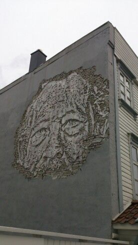 Streetart Stavanger, Norway. Old man in briks.