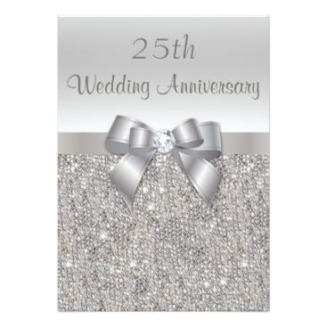 Silver 25th Wedding Anniversary Sequins and Bow Card Zazzle_invitation2