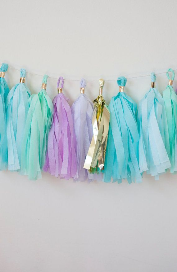 Lets celebrate with this Mermaid tassel garland!  This tassel garland is great for: mermaid themed party nursery decor childrens room decor weddings