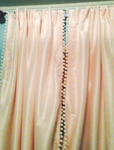 Light Pink Blackout Curtain with White Pom by ChesapeakeCottage