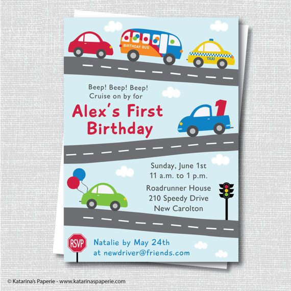 Cars and Trucks Birthday Invitation Cars and by KatarinasPaperie