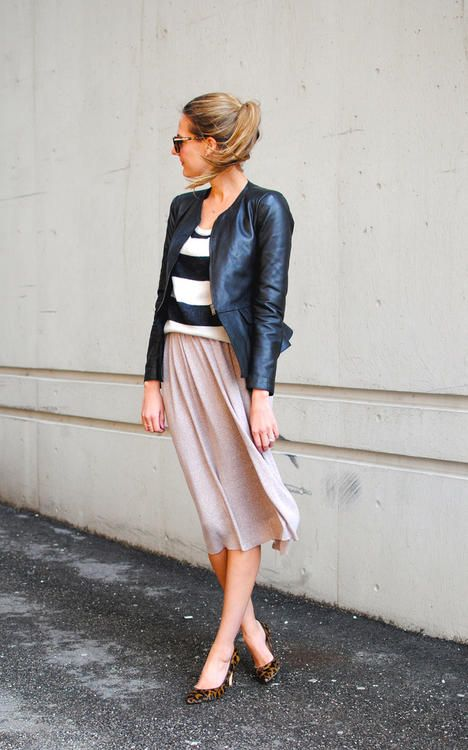 flowy skirt / stripes / leather / leopard heels / outfit