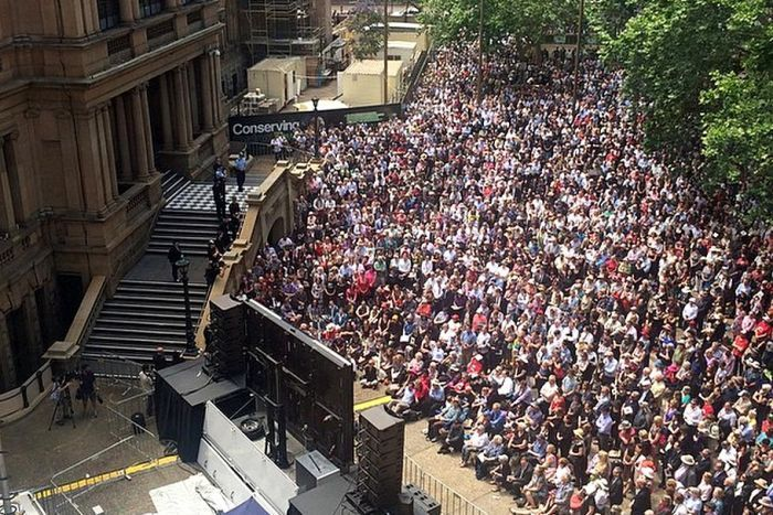 Sydney Town Hall Square - the overflow. A great crowd of people gather in community to honour Gough Whitlam. And to remember that this country Can be a good place for the planet.