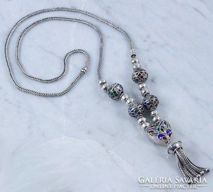 Gyönyörű zománc festett ezüst lánc 73 gramm