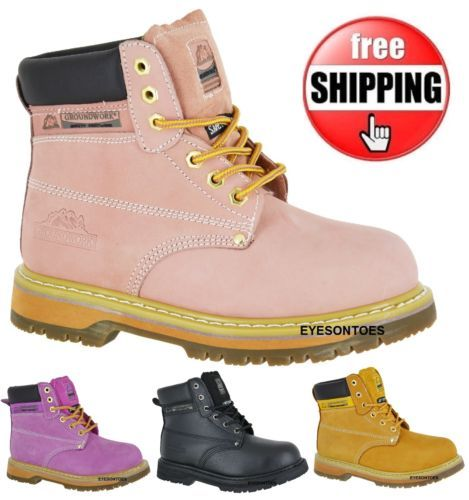 WOMANS-LADIES-SAFETY-WORK-PINK-STEEL-TOE-CAP-GROUNDWORK-HIKING-LEATHER-BOOTS
