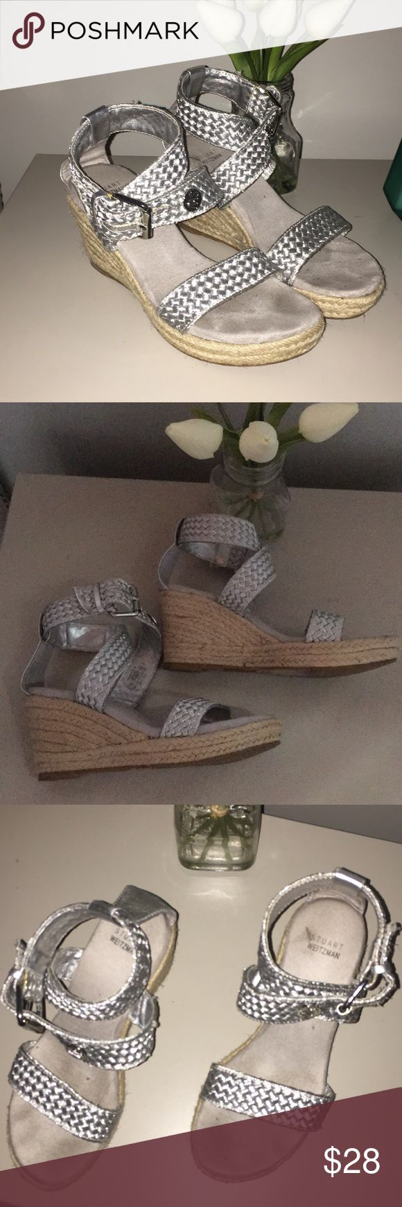 Stuart Weitzman Silver Espadrilles Silver Espadrilles. Very good condition. Worn once to the beach. They are size 2 girls but fit me . I'm a size 4.5-5 ( I have thin feet) Extremely comfortable. Need some cleaning. Stuart Weitzman Shoes Espadrilles