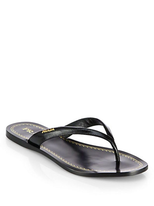 21e434f71741 Saffiano Patent Leather Thong Sandals