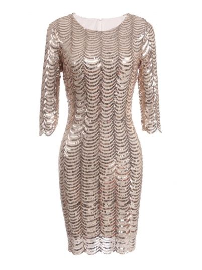 Apricot 3/4 Party Styles Sleeve Dress