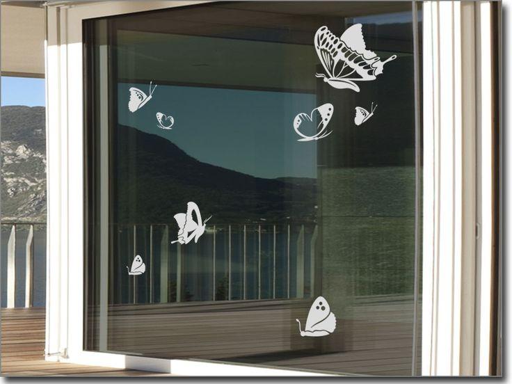Glastattoo Aufkleber Schmetterlinge für Schlafzimmer