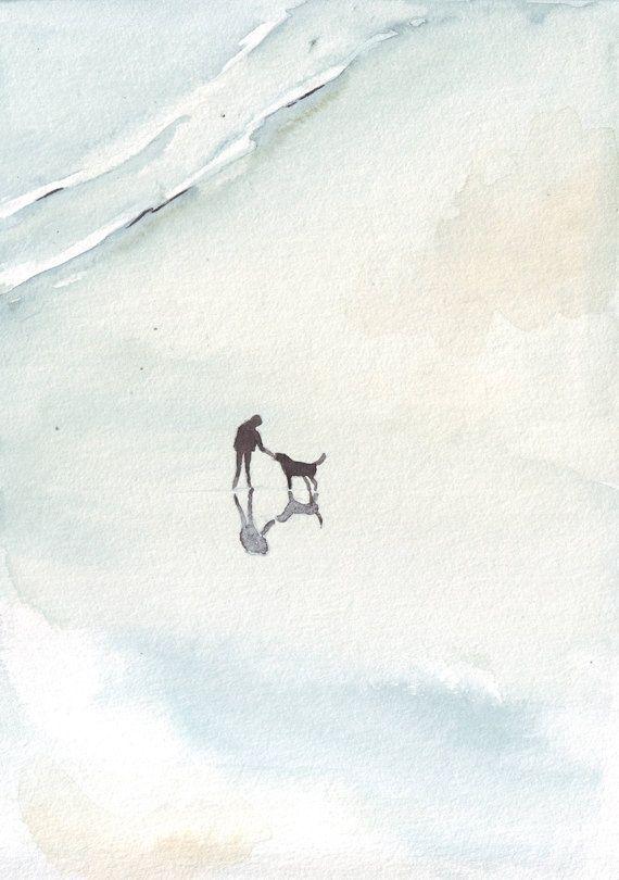 Original Aquarell Strand Kunst Mann Hund Malen Schlafzimmer